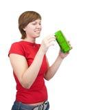Muchacha con el rectángulo de regalo Foto de archivo libre de regalías