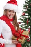 Muchacha con el regalo de Navidad Fotografía de archivo
