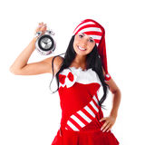 Muchacha con el reloj de alarma Foto de archivo libre de regalías