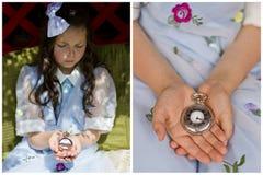 Muchacha con el reloj de bolsillo Imagen de archivo libre de regalías