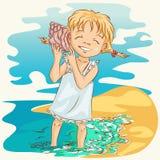 Muchacha con el seashell Foto de archivo libre de regalías