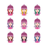 Muchacha con el sombrero del invierno - 9 diversos colores del pelo Fotografía de archivo