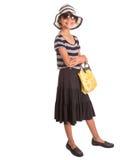 Muchacha con el sombrero del verano, las gafas de sol y el bolso IV Imagenes de archivo
