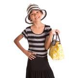 Muchacha con el sombrero del verano, y el bolso II Foto de archivo libre de regalías