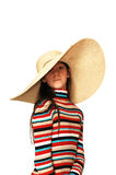 Muchacha con el sombrero grande. Foto de archivo libre de regalías