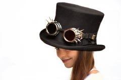 Muchacha con el sombrero negro Fotos de archivo