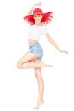 Muchacha con el sombrero rojo Imagen de archivo