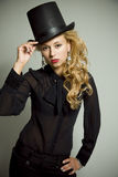 Muchacha con el sombrero superior Fotografía de archivo