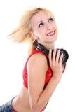 Muchacha con el sueño de los auriculares Fotografía de archivo libre de regalías