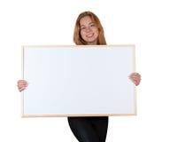Muchacha con el tablero de la información Fotografía de archivo