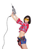 Muchacha con el taladro eléctrico Fotografía de archivo
