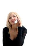 Muchacha con el teléfono Imagen de archivo libre de regalías