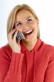Muchacha con el teléfono Fotos de archivo libres de regalías
