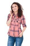 Muchacha con el teléfono celular Imágenes de archivo libres de regalías