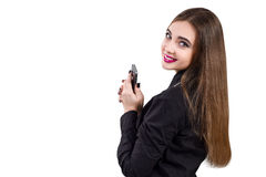 Muchacha con el teléfono móvil a disposición Estilo del asunto Fotografía de archivo libre de regalías