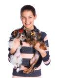 Muchacha con el terrier de Yorkshire Fotos de archivo libres de regalías