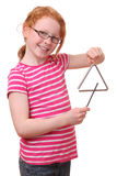 Muchacha con el triángulo Imagenes de archivo