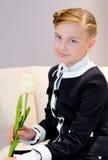 Muchacha con el tulipán Imagenes de archivo