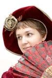 Muchacha con el ventilador Fotografía de archivo libre de regalías