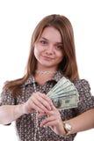 Muchacha con el ventilador del dólar Foto de archivo libre de regalías