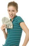 Muchacha con el ventilador del dinero Imágenes de archivo libres de regalías