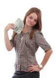 Muchacha con el ventilador del dólar Fotos de archivo libres de regalías