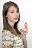 Muchacha con el vidrio de vino Fotografía de archivo libre de regalías