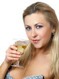 Muchacha con el vidrio de vino Foto de archivo
