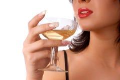 Muchacha con el vidrio de vino Imagen de archivo libre de regalías