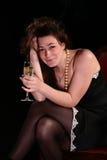 Muchacha con el vidrio de vino imágenes de archivo libres de regalías