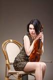 Muchacha con el violín Imagen de archivo libre de regalías