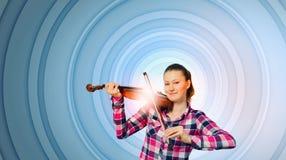 Muchacha con el violín Foto de archivo libre de regalías