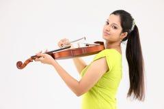 muchacha con el violín Fotografía de archivo libre de regalías