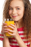 Muchacha con el zumo de naranja Fotografía de archivo