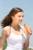 Muchacha con helado Imagenes de archivo