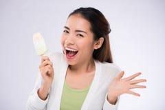 Muchacha con helado Foto de archivo libre de regalías