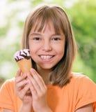 Muchacha con helado Imágenes de archivo libres de regalías