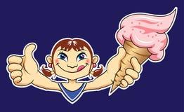 Muchacha con helado delicioso Imagen de archivo libre de regalías