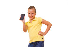 Muchacha con iPhone. Imagen de archivo libre de regalías