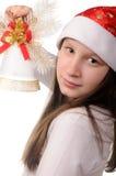 Muchacha con la alarma de la Navidad Imagenes de archivo