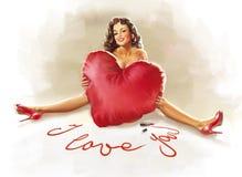 Muchacha con la almohadilla del corazón Foto de archivo