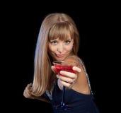 Muchacha con la bebida Fotografía de archivo
