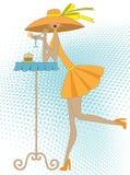 Muchacha con la bebida stock de ilustración
