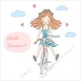 Muchacha con la bici Imagenes de archivo