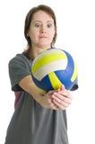 Muchacha con la bola del voleibol Fotos de archivo