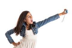Muchacha con la cámara Fotografía de archivo libre de regalías