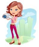 Muchacha con la cámara Imagen de archivo libre de regalías