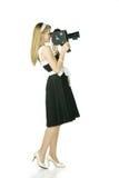 Muchacha con la cámara de la película Fotografía de archivo libre de regalías