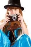 Muchacha con la cámara de la vendimia Imagen de archivo