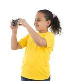 Muchacha con la cámara del teléfono Fotografía de archivo libre de regalías